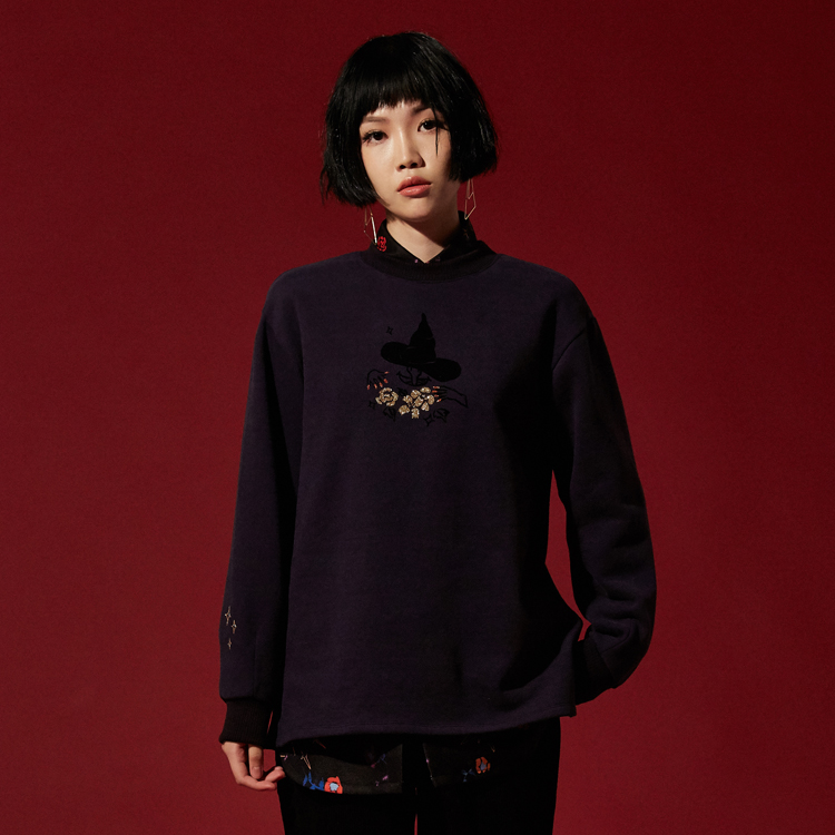 Witch Graphic Navy Sweatshirt - NAVY