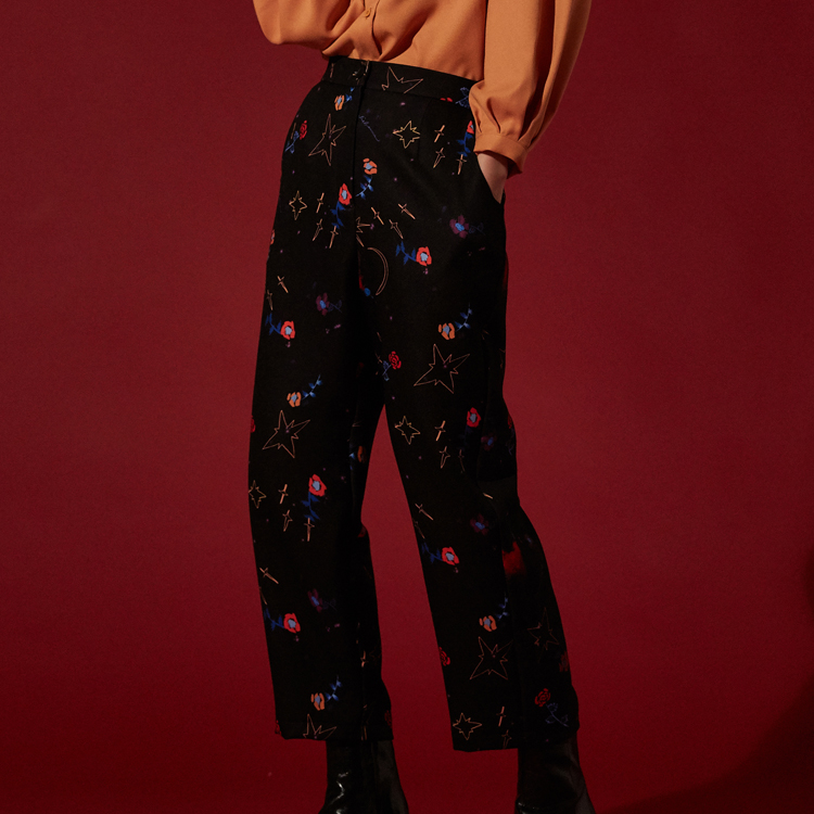 Mysterious Garden Trousers - BLACK