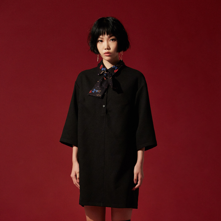 Mysterious Garden Boxy Collar Dress - BLACK