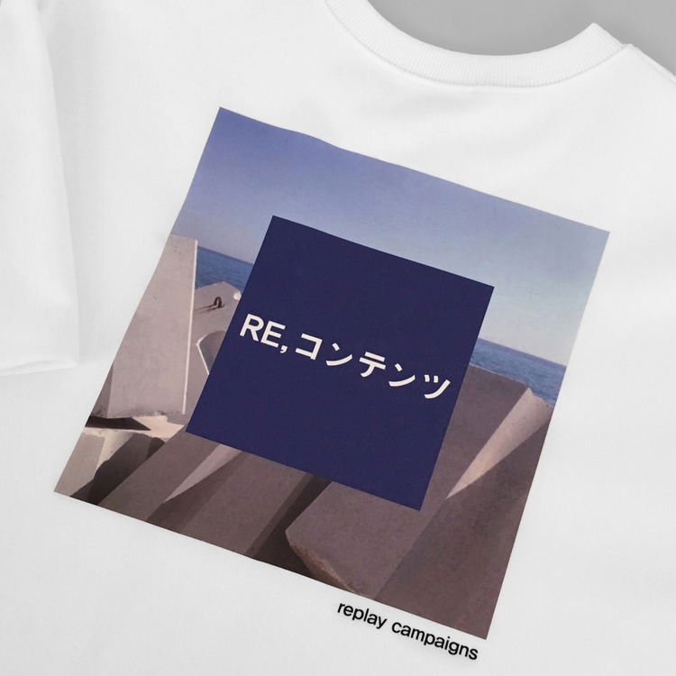 REPLAY CAMPAIGN 1/2 TEE - BLUE