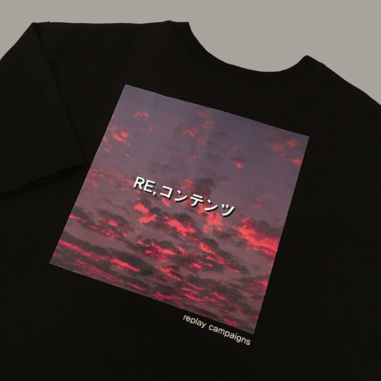 black replay campaign 1/2 tee (pink)