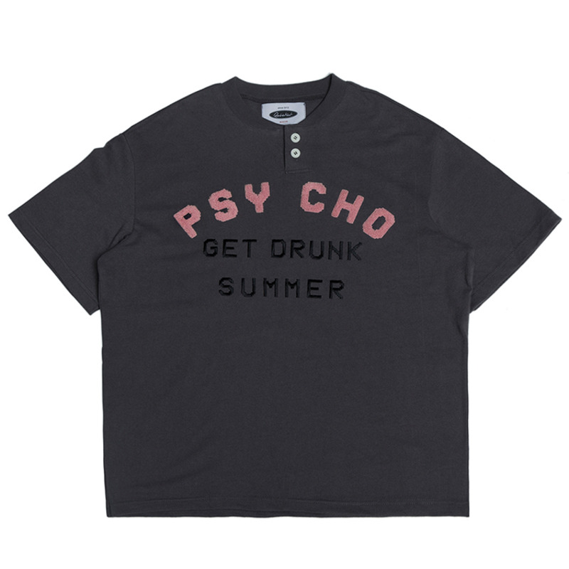 Psycho 1/2 Henley-neck T-shirts (charcoal)