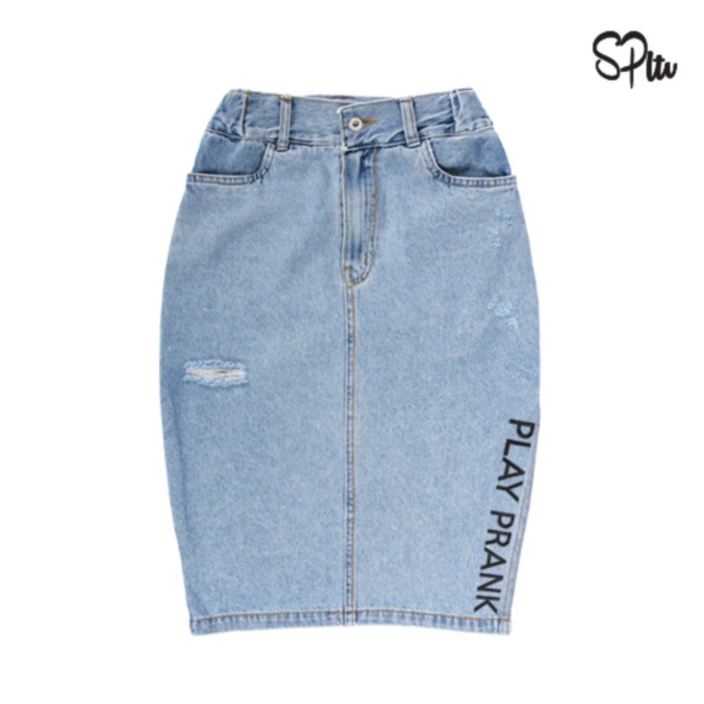 슈퍼레이티브 - DENIM SLIT MIDI SKIRT - Light blue