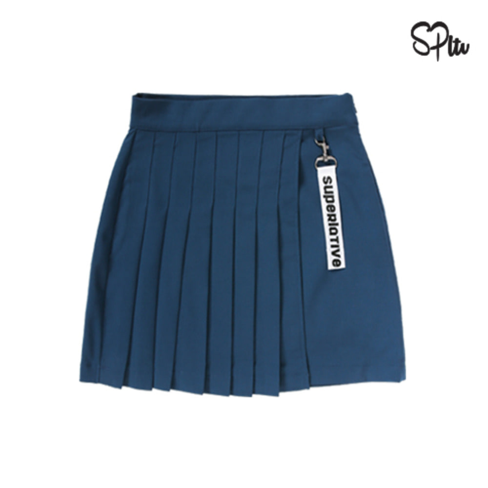 슈퍼레이티브 - UNBALANCE PLEATS KEYRING SKIRT - Indi blue