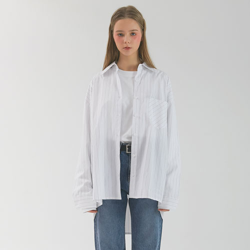 PIN STRIPE SHIRT - WHITE