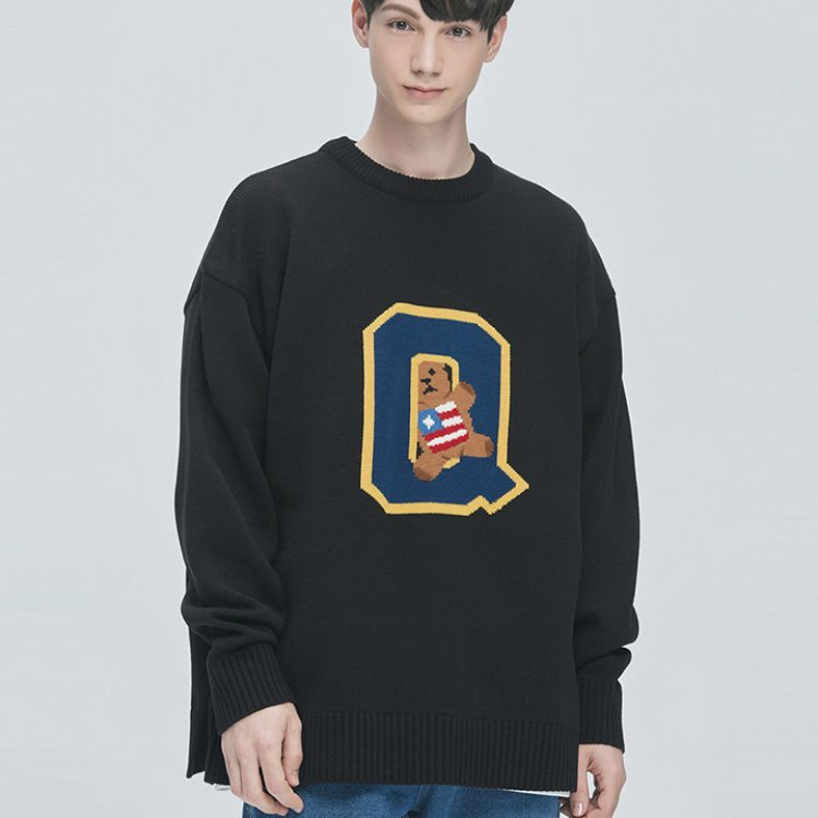 College-Bear Logo Knit Sweater (black)