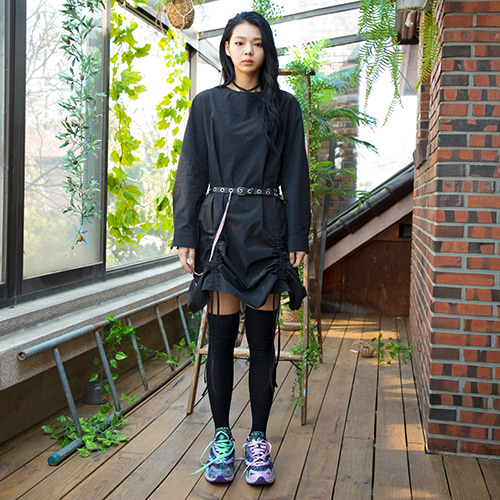 19SS PLEATED SHIRT DRESS - BLACK