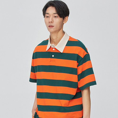 Opening Hour Stripe Rugby Collar-Tee (orange)