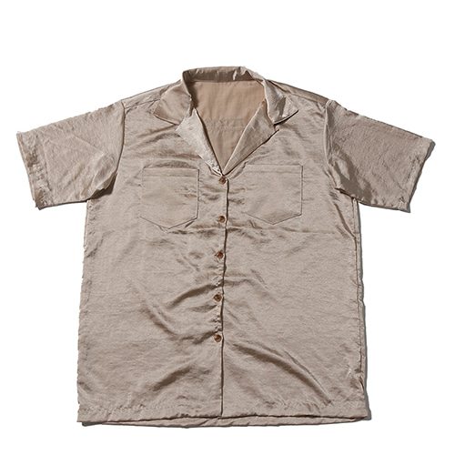 [WANTON] WASHER SILK SHIRTS BEIGE