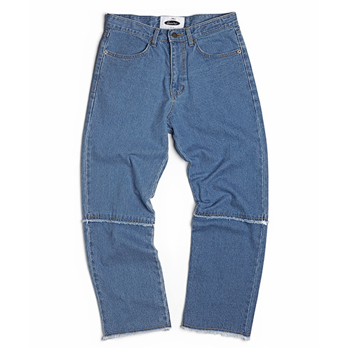 Washed Cut-Off Panel Denim (light blue)