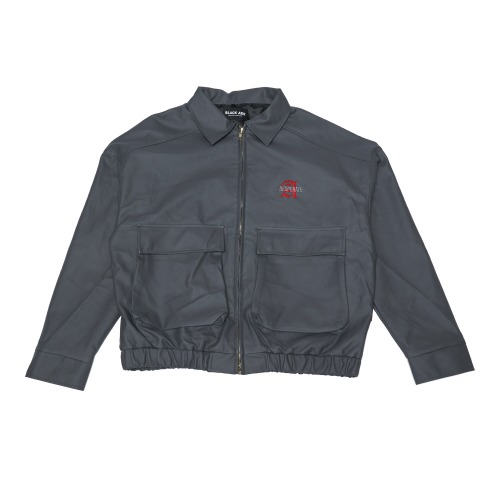 Double Pocket Leather JK- Gray