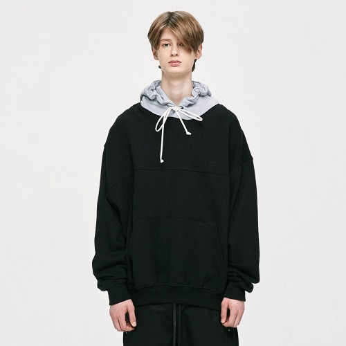 Contrast Hoodie - Light Grey/Black