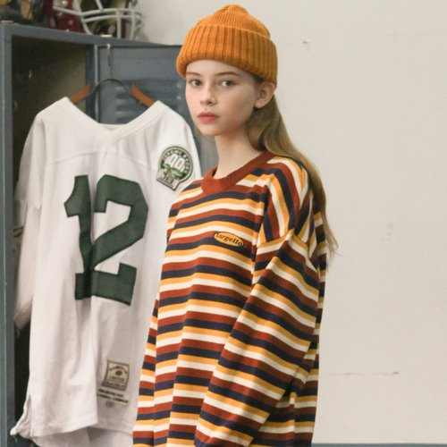 LOGO STRIPE KNIT BROWN