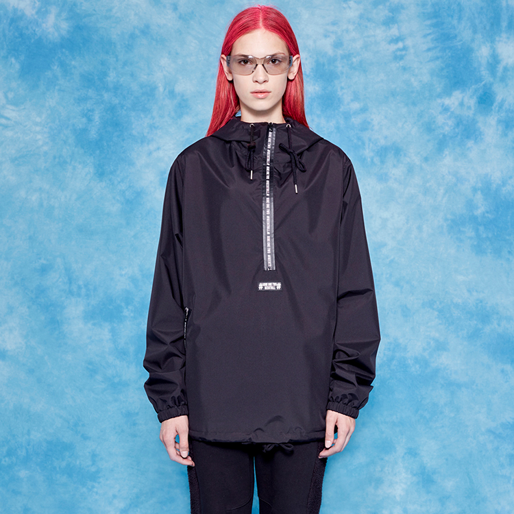 #ZIPPER DETAILED ANORAK# - BLACK