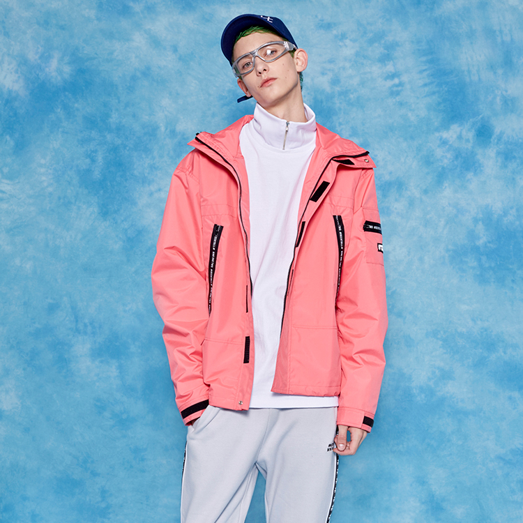 #ZIPPER DETAILED WINDBREAKER# - PINK