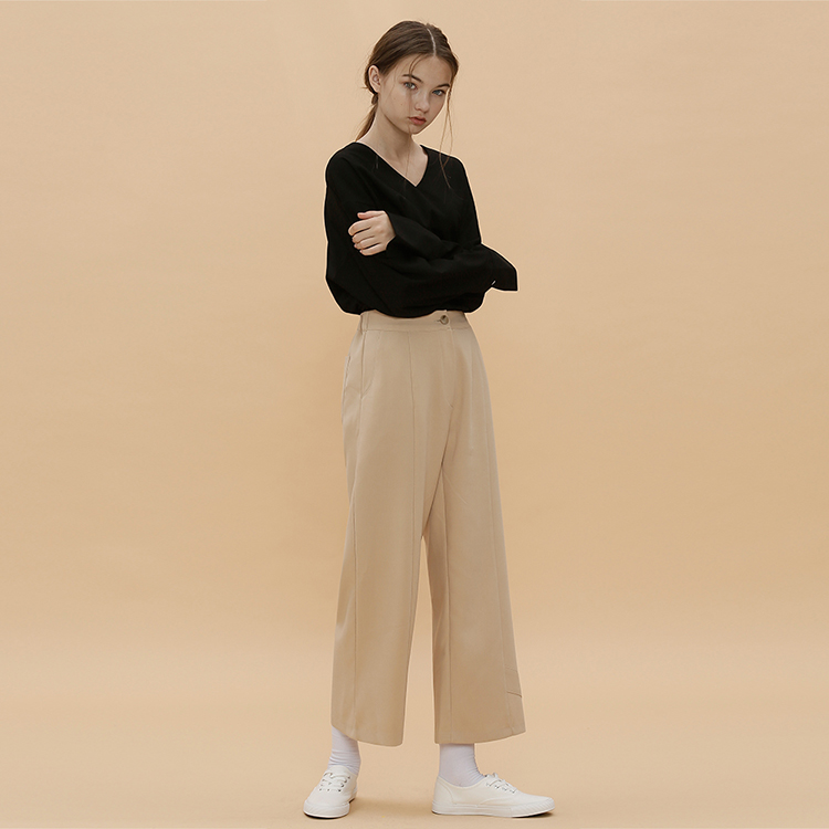 D.POINT WIDE PANTS - BEIGE