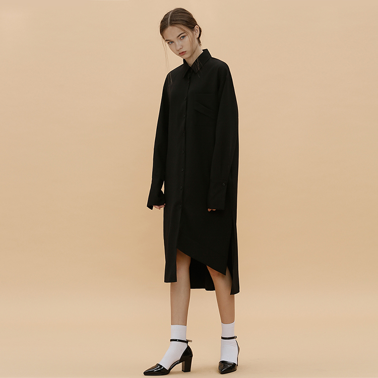 D.POINT LONG SHIRT - BLACK
