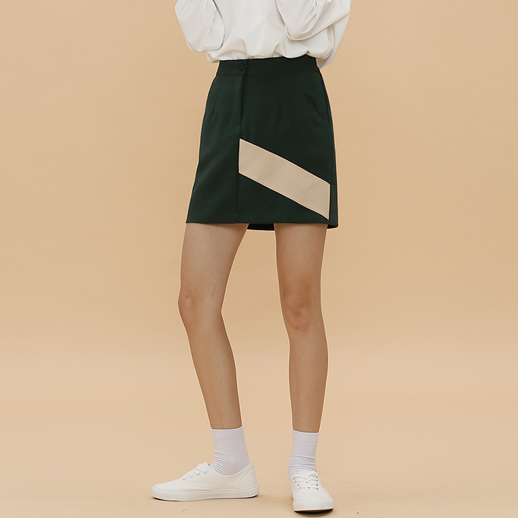 D.POINT MINI SKIRT - DARK GREEN