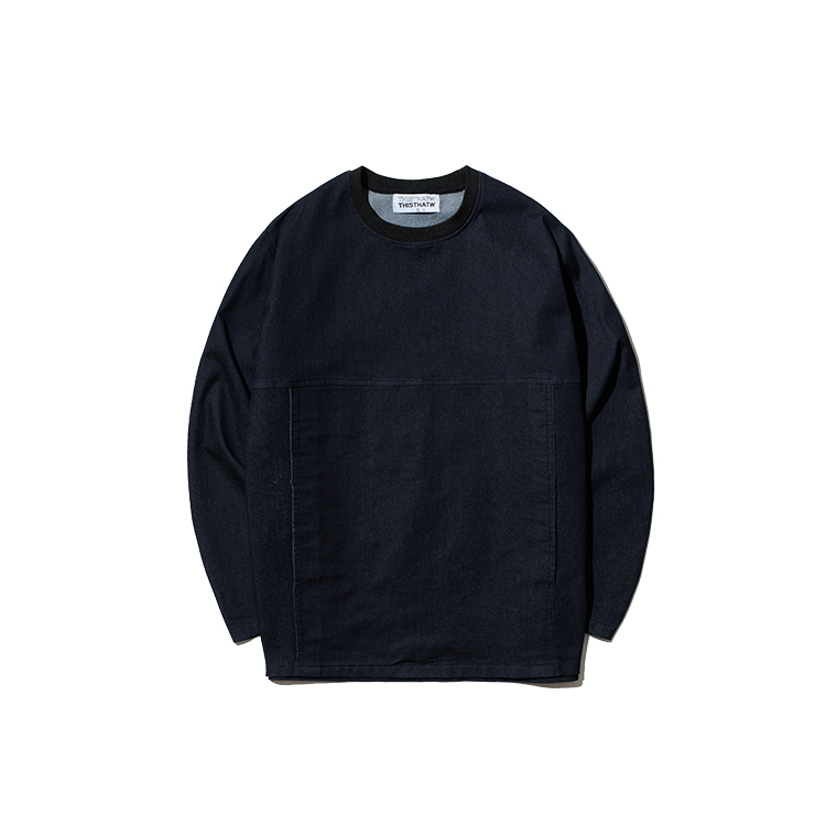 STITCH DENIM SWEAT SHIRT - NAVY