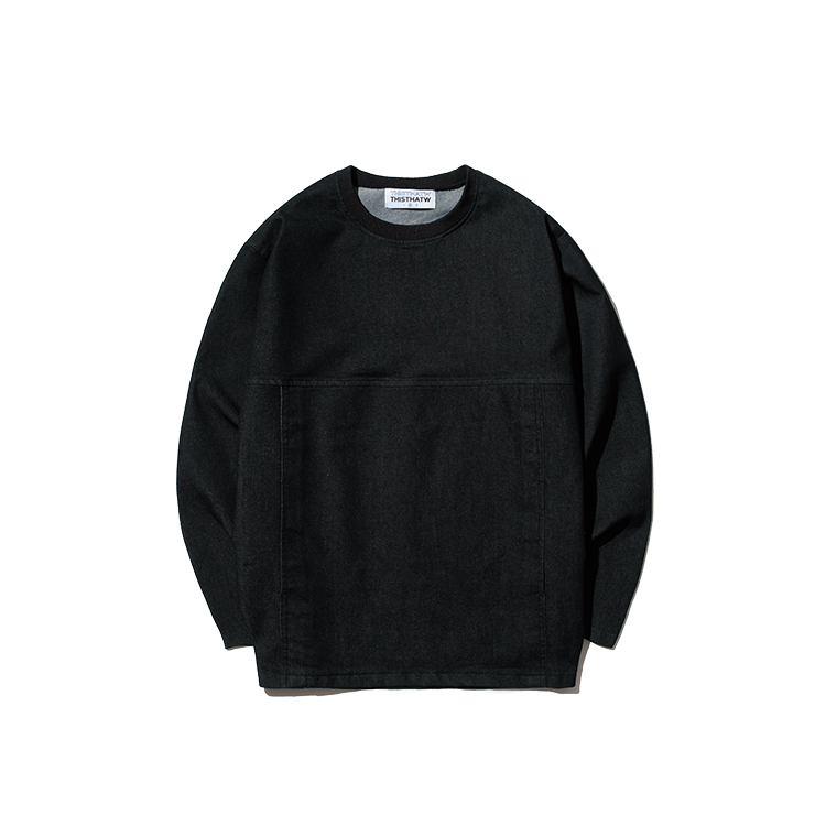 STITCH DENIM SWEAT SHIRT - BLACK