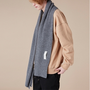 LAMBSWOOL KNIT MUFFLER - CHARCOAL