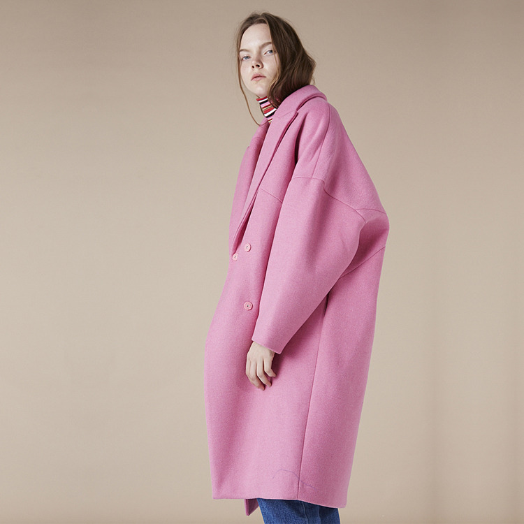 OVERFIT WOOL COAT - PINK