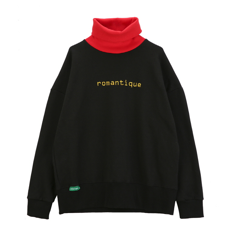 ROMANTIQUE OVERSIZE TURTLE NECK SWEATSHIRTS - BLACK