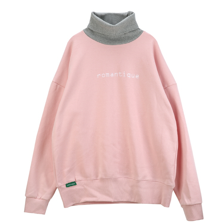 ROMANTIQUE OVERSIZE TURTLE NECK SWEATSHIRTS - PINK