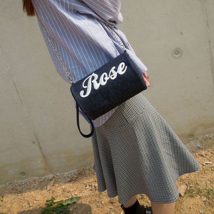 Rose denim cylinder bag - NAVY