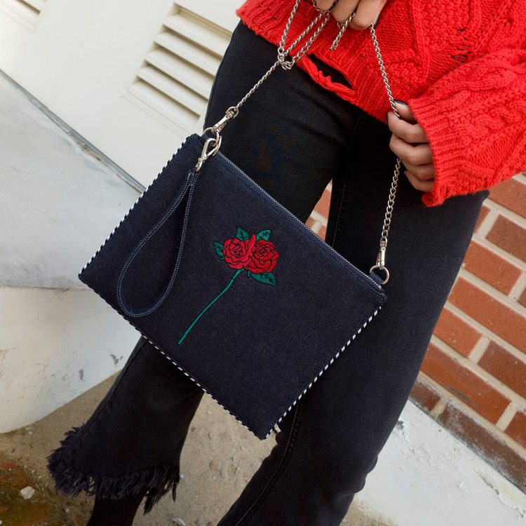 rose denim clutch bag - NAVY