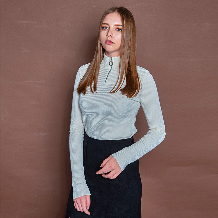 NECK ZIPPER T - IVORY