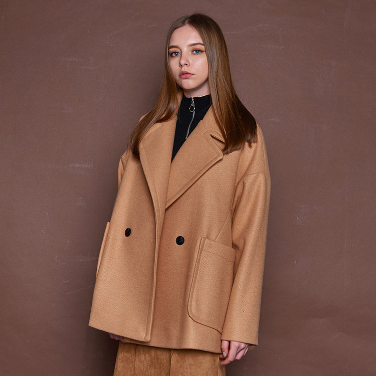 LOOSE FIT HALF COAT - BROWN