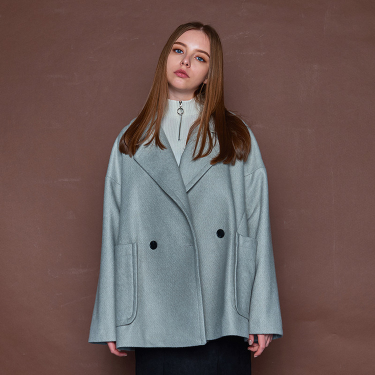 LOOSE FIT HALF COAT - GREY