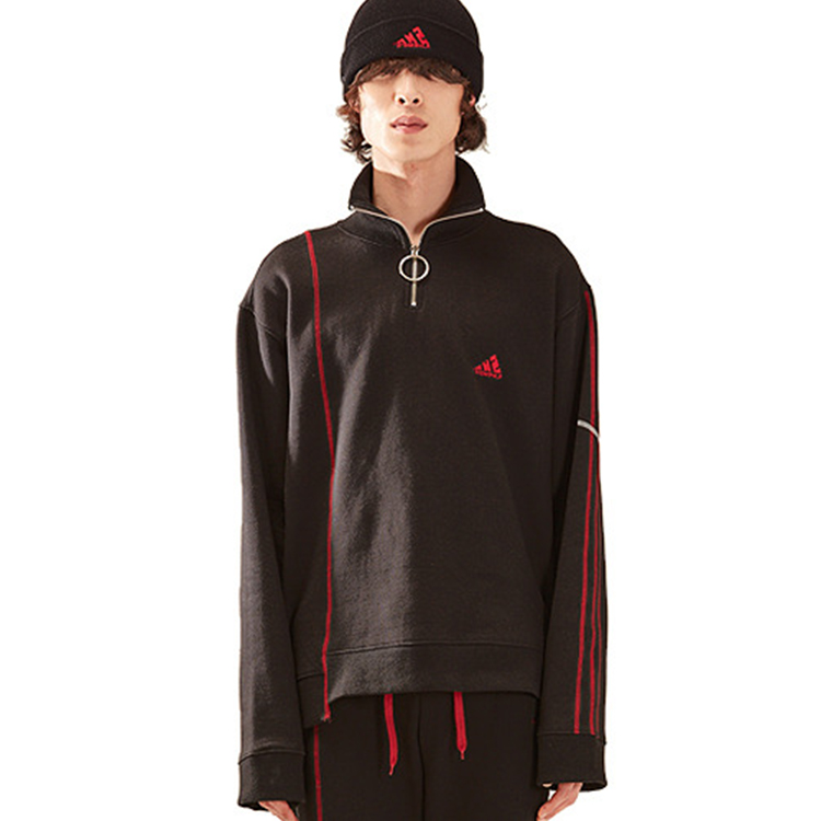 zipper stich high neck mtm homme - BLACK