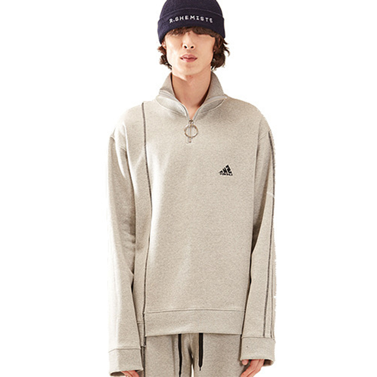 zipper stich high neck mtm homme - GRAY