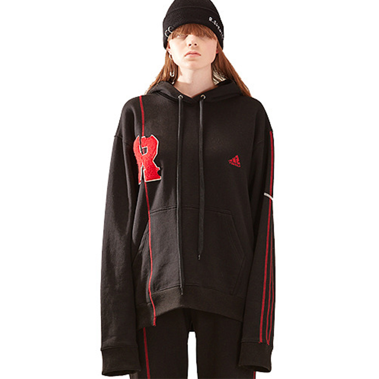 R patch stich hood woman - BLACK