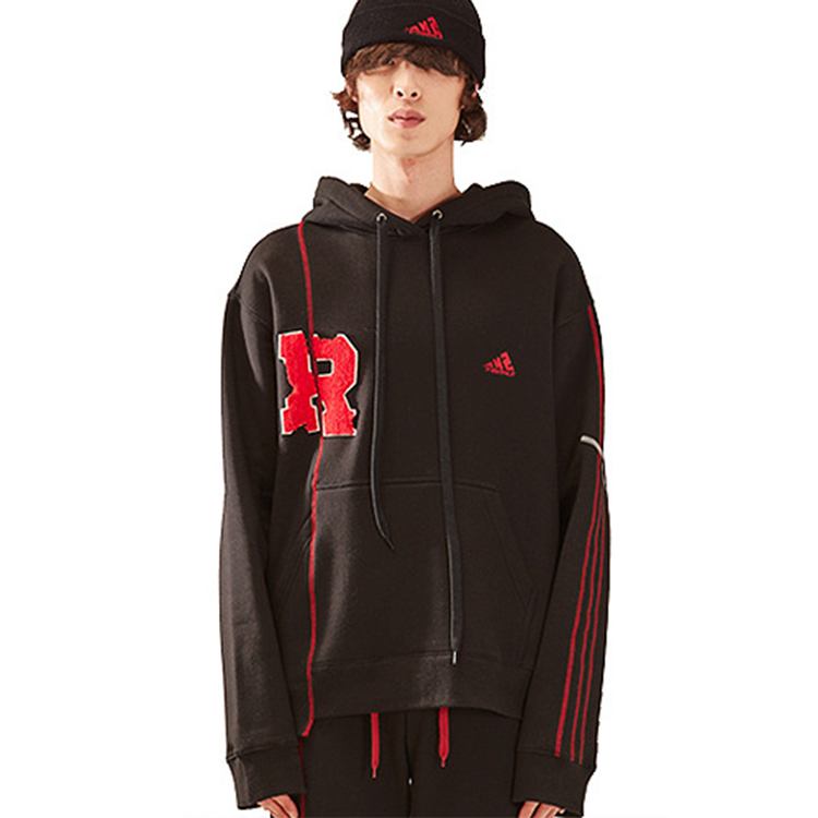 R patch stich hood homme - BLACK