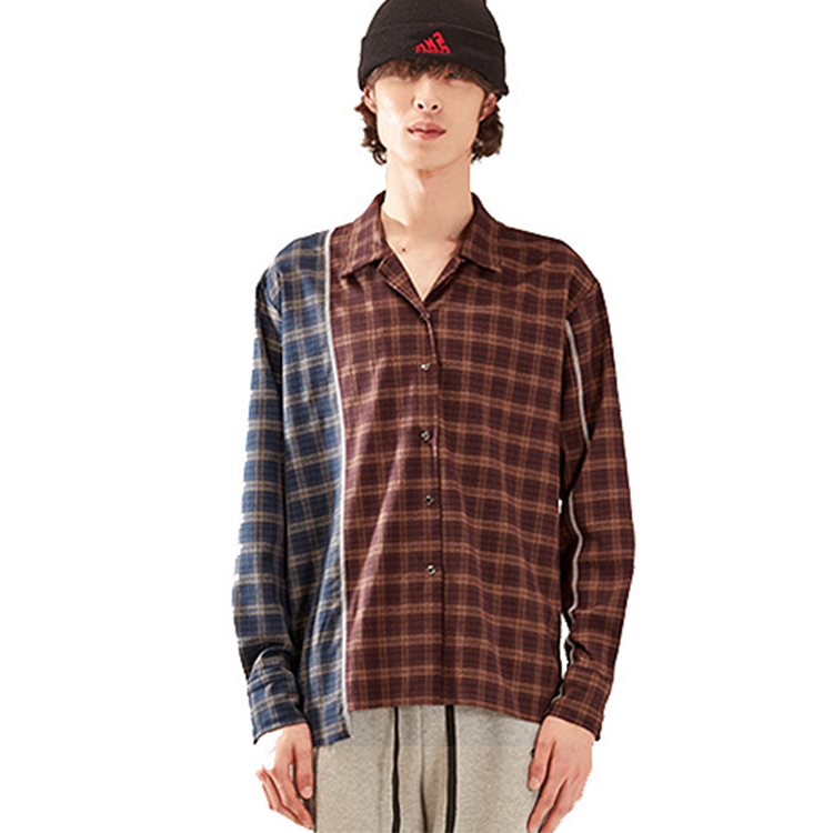 check unbal shirt homme - BROWN