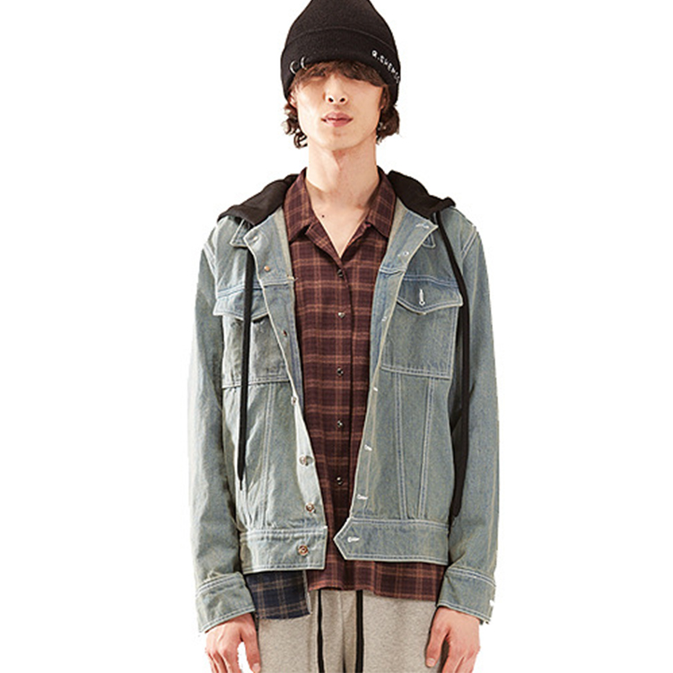 hood denim jarcket homme - DENIM