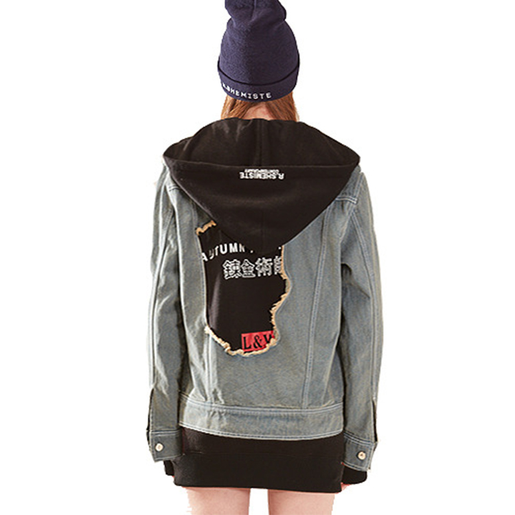 hood denim jarcket woman - DENIM