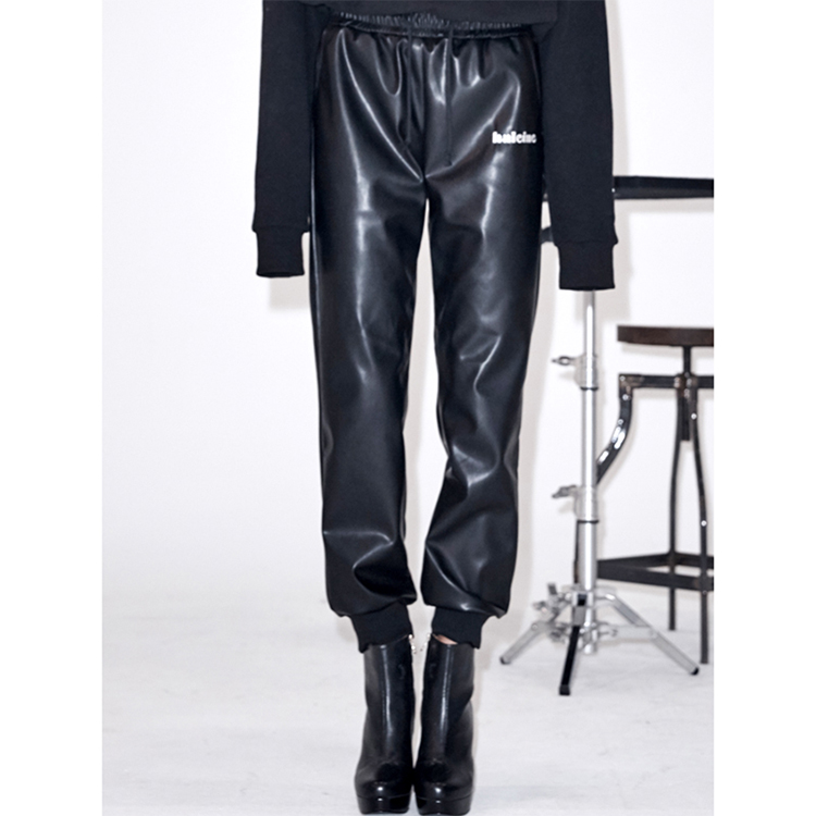 FAUX LEATHER JOGGER PANTS - BLACK