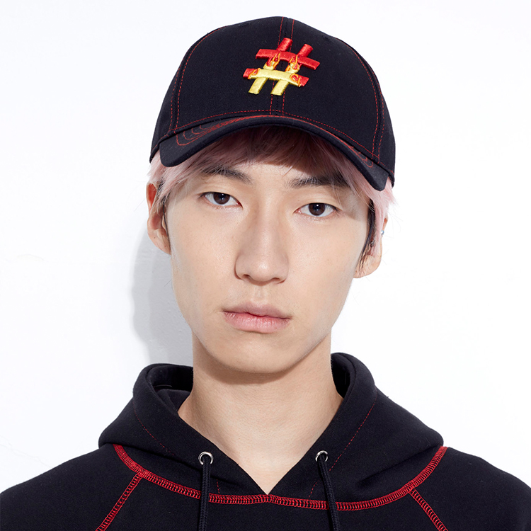 #FLAME LOGO STITCH CAP# - BLACK