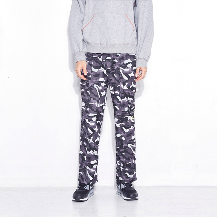 #VELVET CUT OFF WIDE PANTS# - CAMO