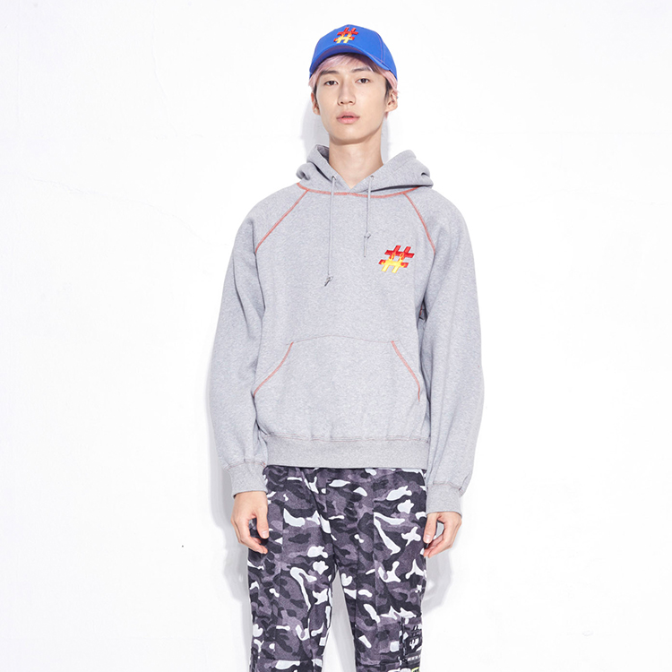 #5T COVER STITCH HOOD PULL OVER# - GREY