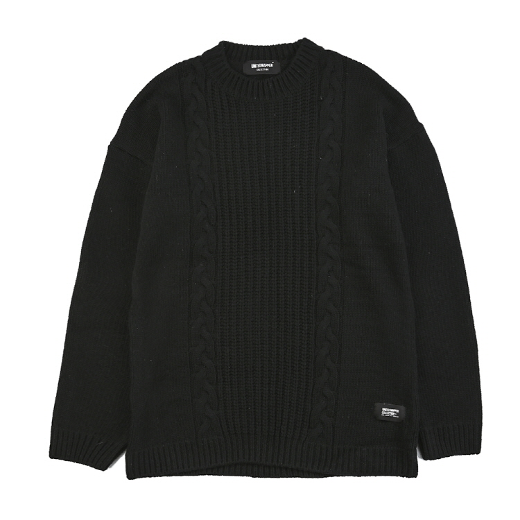 TAILED OVERSIZE WOOL KNIT - BLACK