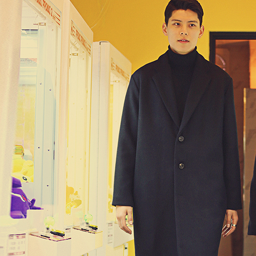 LOOKING WOOL COAT - BLACK
