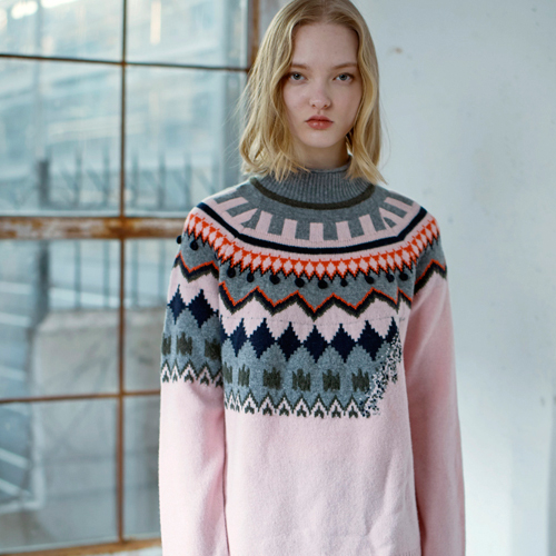 PUNCH CARD LAMBSWOOL SWEATER - PINK