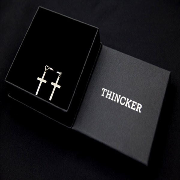 THINCKER CROSS EARRING SIZE - M / SILVER & GOLD