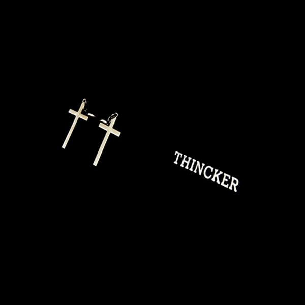 THINCKER CROSS EARRING SIZE - L / SILVER & GOLD
