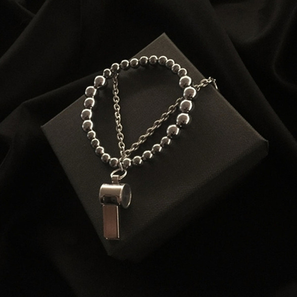 THINCKER DOUBLE CHAIN WHISTLE BRACELET - SILVER